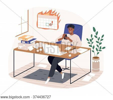 Smiling Freelancer Black Man Sitting On Desk Surfing Internet Use Smartphone Vector Flat Illustratio