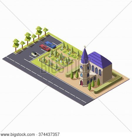 Isometric Christian Catholic Church With Cemetery Isolated On White Background. Religious Building W