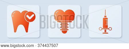 Set Dental Implant, Tooth Whitening Concept And Dental Medical Syringe. White Square Button. Vector