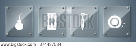 Set Dental Floss, Tooth Drill, Online Dental Care And Enema Pear. Square Glass Panels. Vector