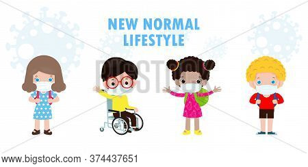 Back To School For New Normal Lifestyle Concept, Happy Disabled Boy In Wheelchair And He Friends Wea