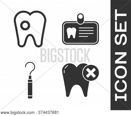 Set Tooth With Caries, Tooth With Caries, Dental Explorer Scaler For Teeth And Id Card With Tooth Ic
