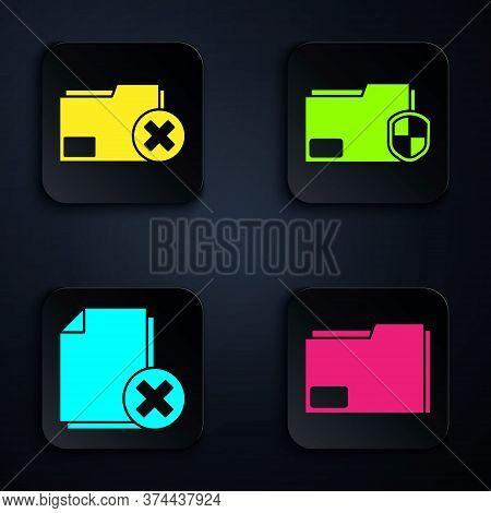 Set Document Folder, Delete Folder, Delete File Document And Document Folder Protection. Black Squar