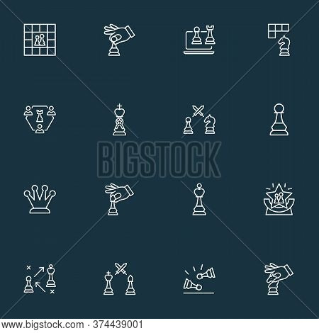 Hobby Icons Line Style Set With Online Chess, Hand With Knight, Strategy Corona Elements. Isolated V