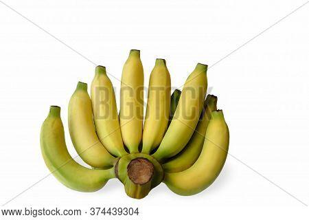 Banana Picture, Yellow Bananas, Banana On White Background. Banana Fruit Close Up