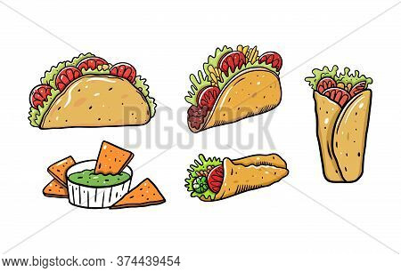 Mexican Food Set. Burrito, Taco And Nachos. Cartoon Vector Illustration. Isolated On White Backgroun
