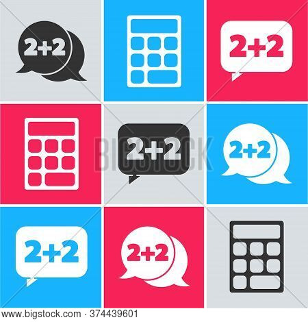 Set Equation Solution, Calculator And Equation Solution Icon. Vector