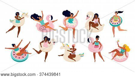 Big Set Of Women In Swimsuits With Inflatable Floats For Swimming. Toys For The Pool, The Unicorn, F