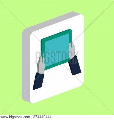 Hands Hold Tablet Simple Vector Icon. Illustration Symbol Design Template For Web Mobile Ui Element.
