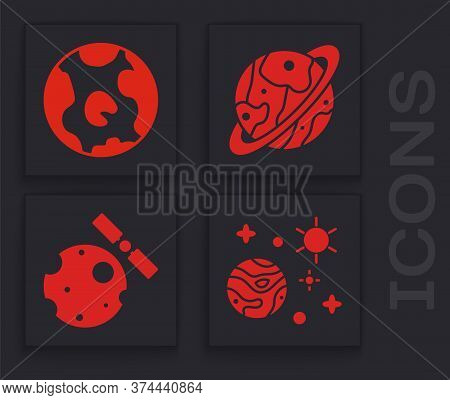 Set Space And Planet, Earth Globe, Planet Saturn And Satellites Orbiting The Planet Earth Icon. Vect