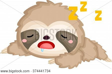 A Vector Of A Cute Sloth Sleeping