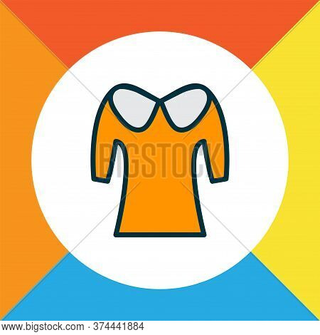Shirt Icon Colored Line Symbol. Premium Quality Isolated Puritan Collar Element In Trendy Style.