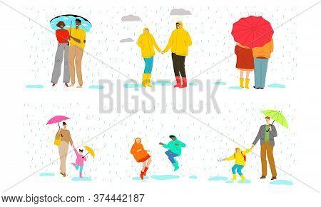Couples, Families And Children Enjoying Rainy Weather Under Umbrellas In Raincoats