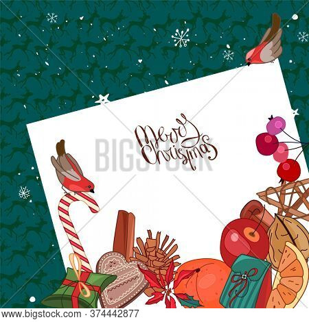 Square festive frame with Christmas decoration, bullfinches and list of paper.  For season design, announcements, postcards, posters.