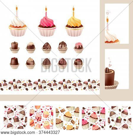 Set with different muffins and sweetmeats. Birthday cakes