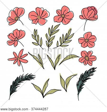 Set Of Flower Isolated On A White Background Of Flowers Leaves And Stems And Buds To Create Bouquets