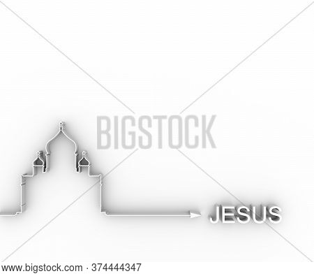Cathedral Of Christ The Savior In Moscow. Simple Outline Silhouette. Way To Jesus Concept. 3d Render