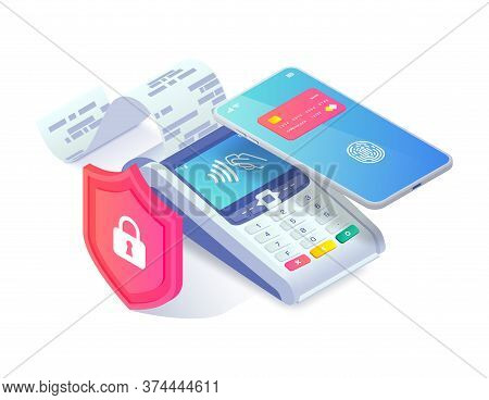 Safe Contactless Payment Via Smartphone Isometric Concept. 3d Payment Machine And Mobile Phone Behin