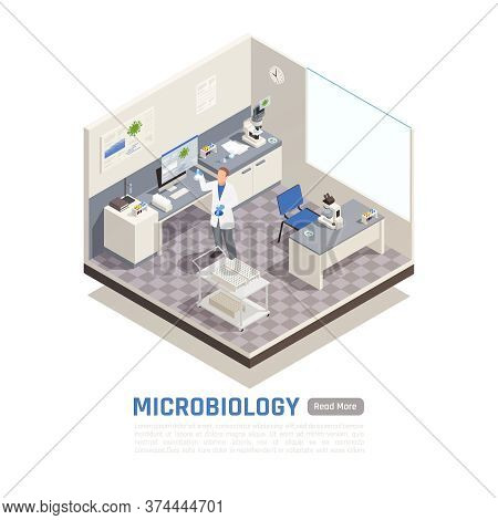 Microbiology Laboratory With Various Equipment And Scientist Holding Flasks 3d Isometric Vector Illu
