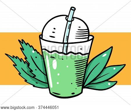Smothie Green Cocktail. Organic Product. Cartoon Style. Vector Illustration. Isolated On Yellow Back