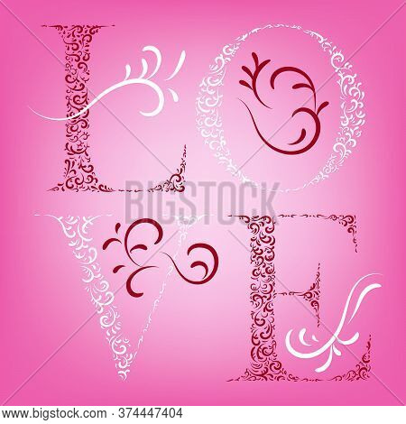 Valentines Day Holiday Or Greeting Card For February 14. Vector Illustration.
