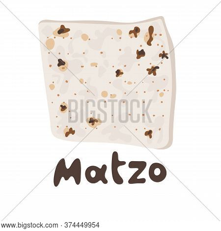 Jewish Matzah Bread Vector Illustration. Traditional Matzoh Pesach Food. Jewish Matzah Or Matzo Vect