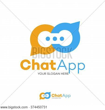 Chat Logo Flat Style Isolated On Background For Social Media, Communication, Chat Bot, Chatting Tech