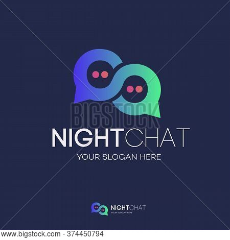 Vector Chat Logo Gradient Style Isolated On Background For Social Media, Communication, Chat Bot, Ch