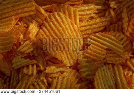 Brown Red Texture Of Food From Dried Crisps In A Heap