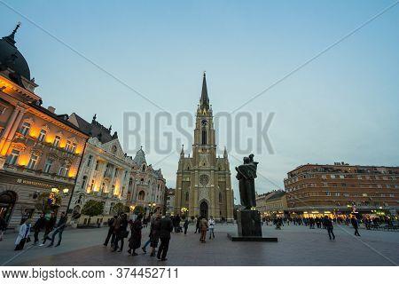 Novi Sad, Serbia - November 26, 2016: The Name Of Mary Church, Novi Sad Catholic Cathedral At Dusk W