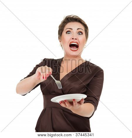 Emotional Woman With Dish And Fork