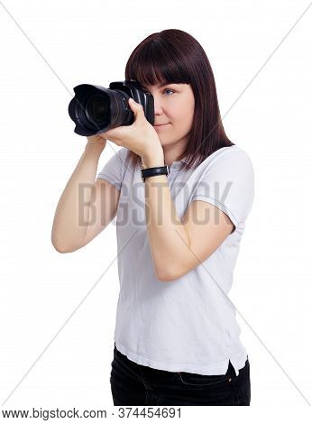 Portrait Of Young Female Photographer Taking Photos With Modern Dslr Camera Isolated On White Backgr