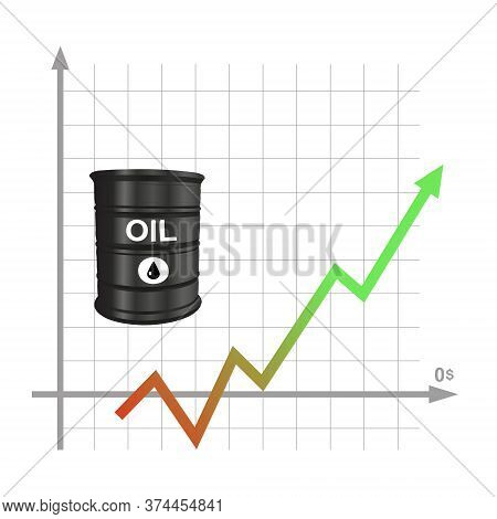 Realistic Barrel With Black Oil, Against The Background Of A Graph Of A Rise In Price Of Black Gold.