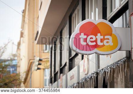 Prague, Czechia - November 2, 2019: Teta Logo On One Of Their Shops In The Center Of Prague. Teta Dr