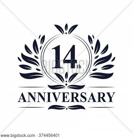 14th Anniversary Celebration, Luxurious 14 Years Anniversary Logo Design.