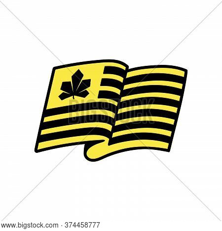 Black And Yellow Stripes Flag Icon With Chestnut Kyiv City Symbol.