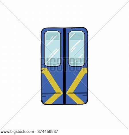Metro Train Doors Vector Illustration. Blue Underground Metropolitan Train Automatic Doors