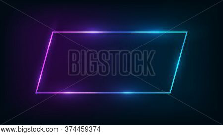 Neon Frame With Shining Effects On Dark Background. Empty Glowing Techno Backdrop. Vector Illustrati