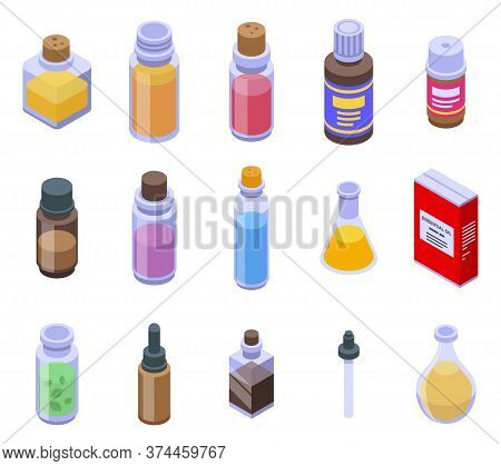 Essential Oils Icons Set. Isometric Set Of Essential Oils Vector Icons For Web Design Isolated On Wh