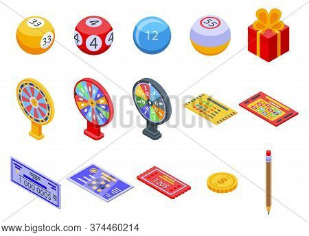 Lottery Icons Set. Isometric Set Of Lottery Vector Icons For Web Design Isolated On White Background