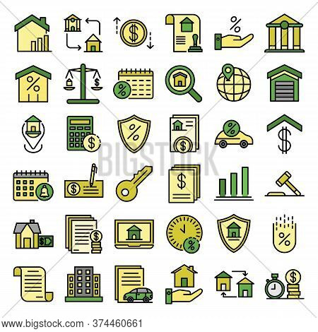 Mortgage Icons Set. Outline Set Of Mortgage Vector Icons Thin Line Color Flat On White