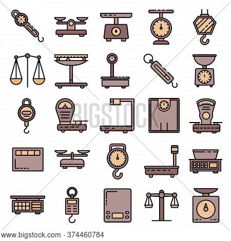 Weigh Scales Icons Set. Outline Set Of Weigh Scales Vector Icons Thin Line Color Flat On White