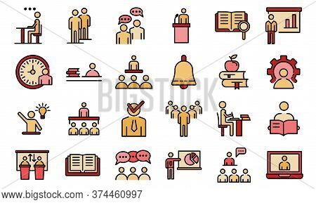 Lecture Class Icons Set. Outline Set Of Lecture Class Vector Icons Thin Line Color Flat On White