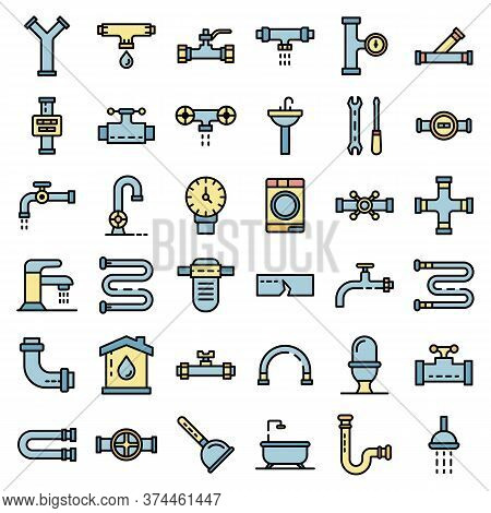 Plumbing Icons Set. Outline Set Of Plumbing Vector Icons Thin Line Color Flat On White