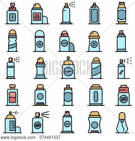 Deodorant Icons Set. Outline Set Of Deodorant Vector Icons Thin Line Color Flat On White