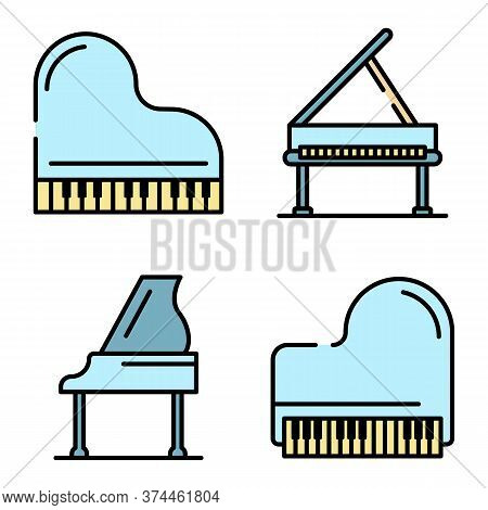 Grand Piano Icons Set. Outline Set Of Grand Piano Vector Icons Thin Line Color Flat On White