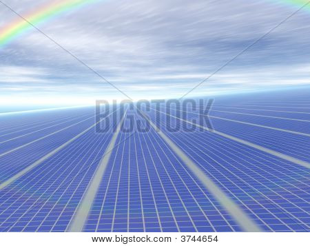 3D Concept Infinite Solar Panels Against Blue Sky And Rainbow