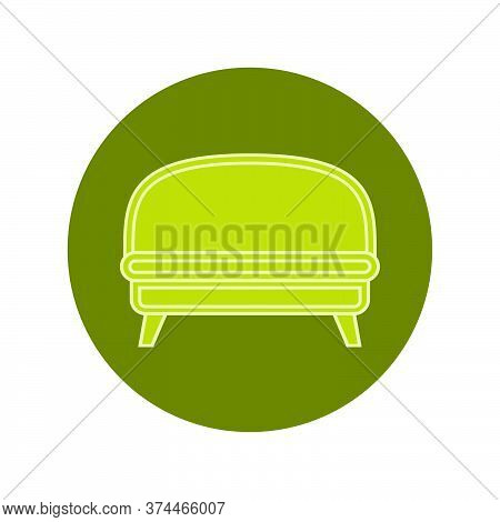 Green Sofa On Circle Verdant Background. Flat Illustration In Form Of Thin Lines For Interior Design