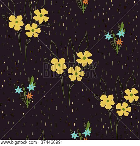 Flowers Seamless Pattern. Botanial Illustration.desing For Banner,card Invitation And Scrapbook.