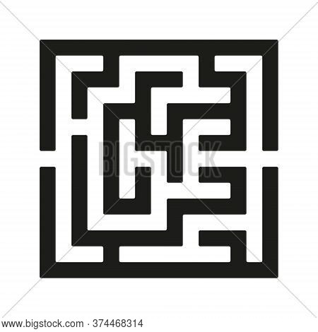 Black Square Vector Maze Isolated On White Background. Easy Labyrinth With One Right Way. Vector Maz